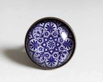 round ring * Marrakesh * ethnic Moroccan mandala rosette, blue, cabochon glass