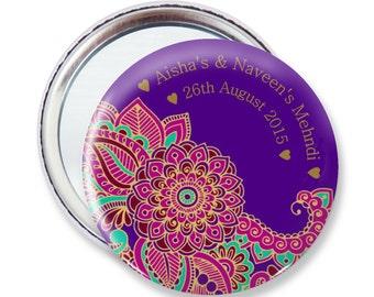 Set of 6+ Flower Mehndi Personalised Pocket Mirrors - 59mm