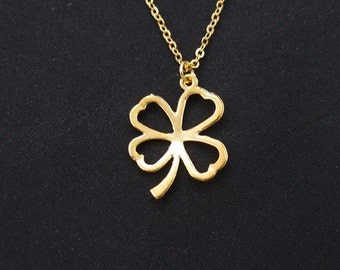 four leaf clover necklace, long necklace option, gold shamrock charm, gifts for her, bridesmaid necklace, bridal jewelry, christmas gift