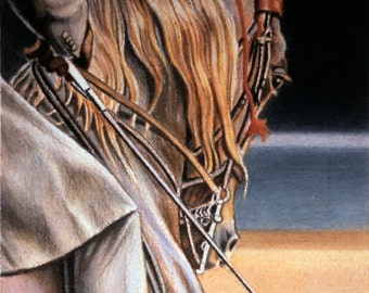 """Equine Art. An original equine colored pencil drawing, entitled """"Warm-Up""""."""