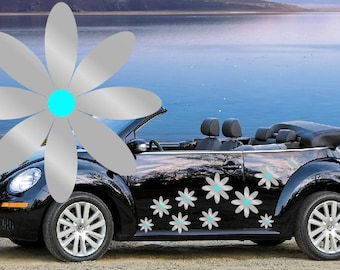 32, Silver with blue centers, daisy flower car decals,stickers in three sizes