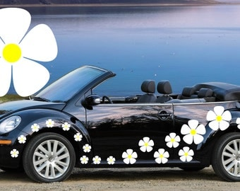 20, white pansy flower car decals,stickers in three sizes