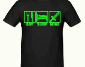 Eat sleep mine, boys t shirt sizes 5-15 years,childrens gamer t shirt