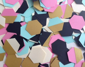 Wedding Party table confetti, geometric hexagons, mint green, gold, pink and black