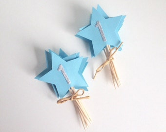 1st Birthday Blue and Silver Star Cupcake Toppers
