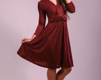 Evening dress, handmade, red dress, midi dress, party dress, prom dress, red and gold dress