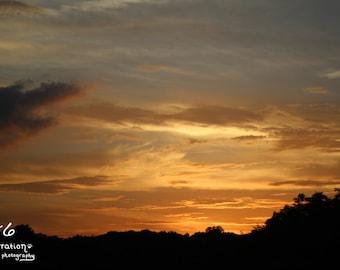 Sunset Photography - Summer Art - Nature Print - Orange Sky Print - Landscape Photo - Warm Colors