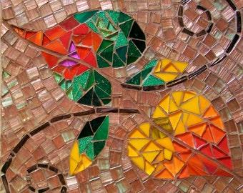 Fall Leaves Mosaic Photo Ceramic Tile