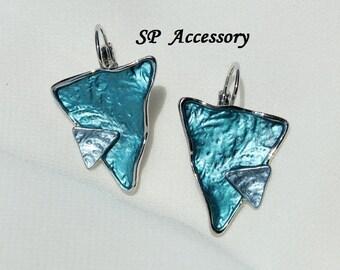 Vintage Metallic Blue Triangle Earrings, Stainless Steel Earrings, jewelry earrings