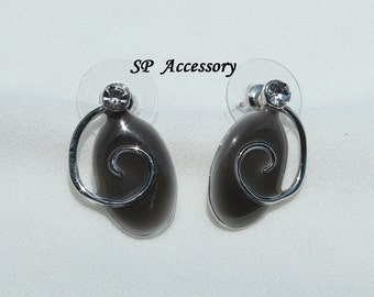 Black Oval with white crystal Earrings, stainless steel earrings, jewelry earrings