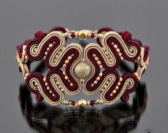Soutache Bracelet,Soutache Jewelry,Soutache elegant, Soutache beige burgundy