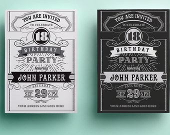 Blackboard Birthday Invitation Template Th Birthday - Retro birthday invitation template