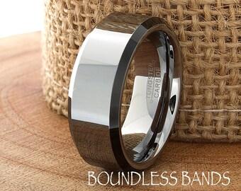 Two Tone Wedding Tungsten Band Beveled Edges Ring Custom Laser Engraved Tungsten Anniversary Ring Couple Ring Mens Ring Mens Women New Band