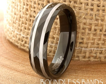Tungsten Wedding Band Faceted Laser Engraved His Hers Black Mens Womens Ring Custom Engraved Anniversary Ring New Design Modern Unique Band