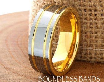 Tungsten Ring Yellow Gold Wedding Band Ring 8mm 18K Tungsten Ring Man Wedding Band Male Women Anniversary Matching
