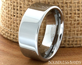 Tungsten Wedding Band Flat High Polished Customized Tungsten Band Any Design Laser Engraved Ring Mens Tungsten Ring Anniversary Ring 8mm