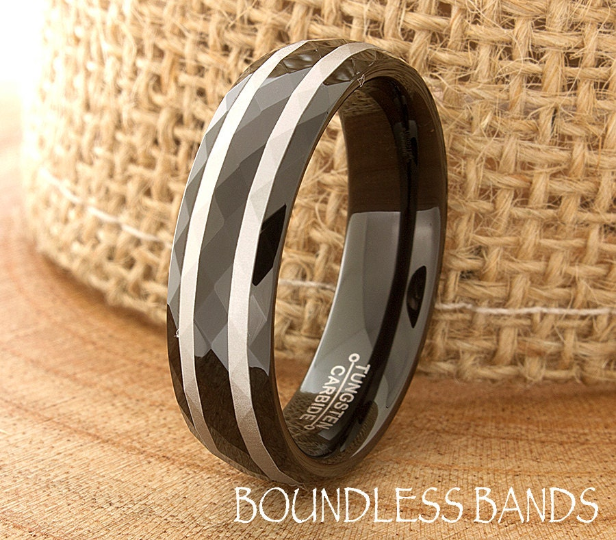Tungsten Wedding Band Faceted Laser Engraved His Hers Black