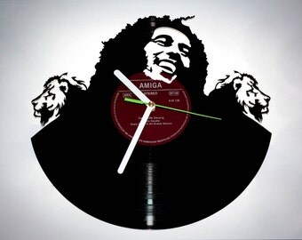 Bob Marley ornaments . Reggae Vinyl Record Clock . Music clock