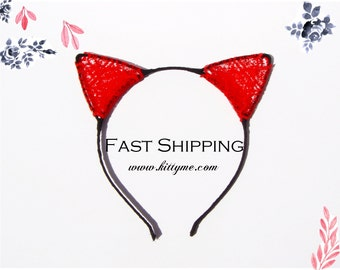 Black & Red Lace Cat Ears Headband