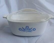 Vintage 1970s Corningware Blue Cornflower 1 5 Qt Casserole