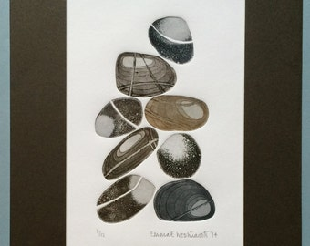 8 Pebbles Limited Edition Mounted Etching No. 11 of 12