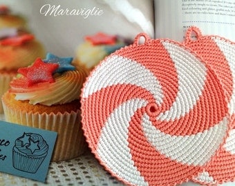 Crochet Potholders, Crocheted Potholders, Potholders, Kitchen decor, Peach Pot Holders, Hot Pads