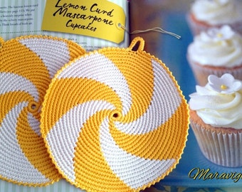 Crochet Potholders, Crocheted Potholders, Yellow Potholders, Kitchen decor