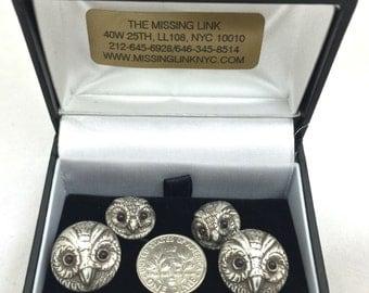 Sterling Silver Owl French Cufflinks with Garnet Eyes Circa 2000's