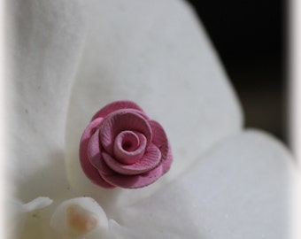 Pale pink, hand crafted polymer clay rose stud earrings