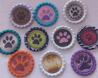 10 Doggie Paws dog paw bottle cap magnets fundraiser cupcake toppers gift