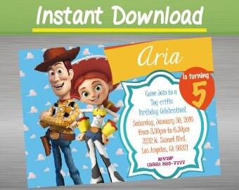 Disney Toy Story invites, printable invite, Toy Story party invites, girls birthday invitation editable, Toy Story Woody Jessie invitation