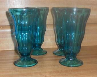 Vintage Set of 4 Parfait ~ Sundae ~ Milkshake Glasses