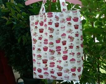 Cupcakes fabric bag cotton shopping bag  tote bag  market bag  shopper bag french market tote bag handmade in Paris