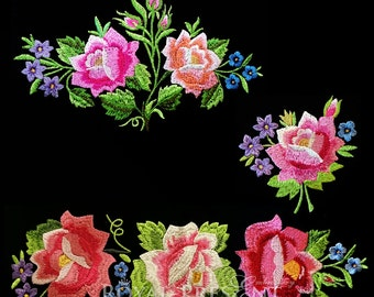 Set of 3 Machine Embroidery Designs - Polish Folk roses