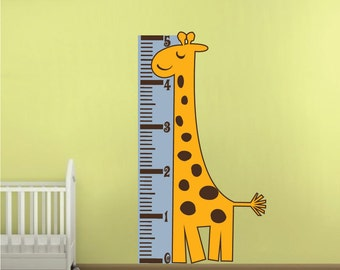 Measure Chart Wall Decal, Giraffe Height Chart Murals, Growth Chart Giraffe Mural, Nursery Room Height Charts, Giraffe Wall Art, n35