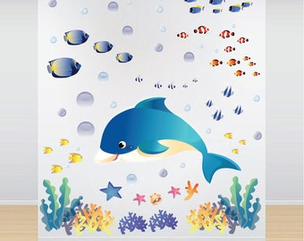 Fish Decals Sea Wall Stickers Under The Sea Wall Murals, Sea Wall Decal Mural, Kids Bedroom Stickers, Ocean Wall Decals, Fish Decals, n07