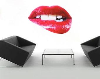 Lips Wall Decals, Lips Wall Mural, Lip Wall Art Decal, Mouth Wall Design, Mouth Wall Decal, Lips Wall Art Sticker, Removable Lips, a21