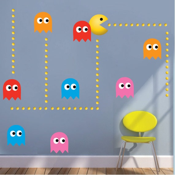 pac man wall stickers pac man wall decals pacman by primedecal pacman cartoon removable wall stickers for kids baby rooms