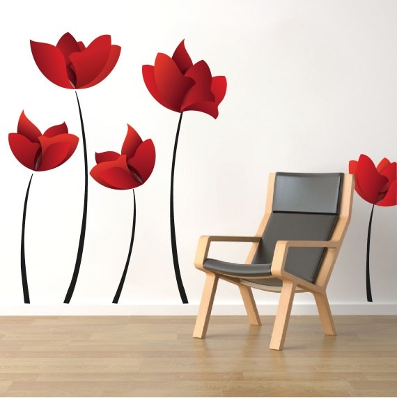 Floral Design Wall Decals : Large flower wall decals red murals floral