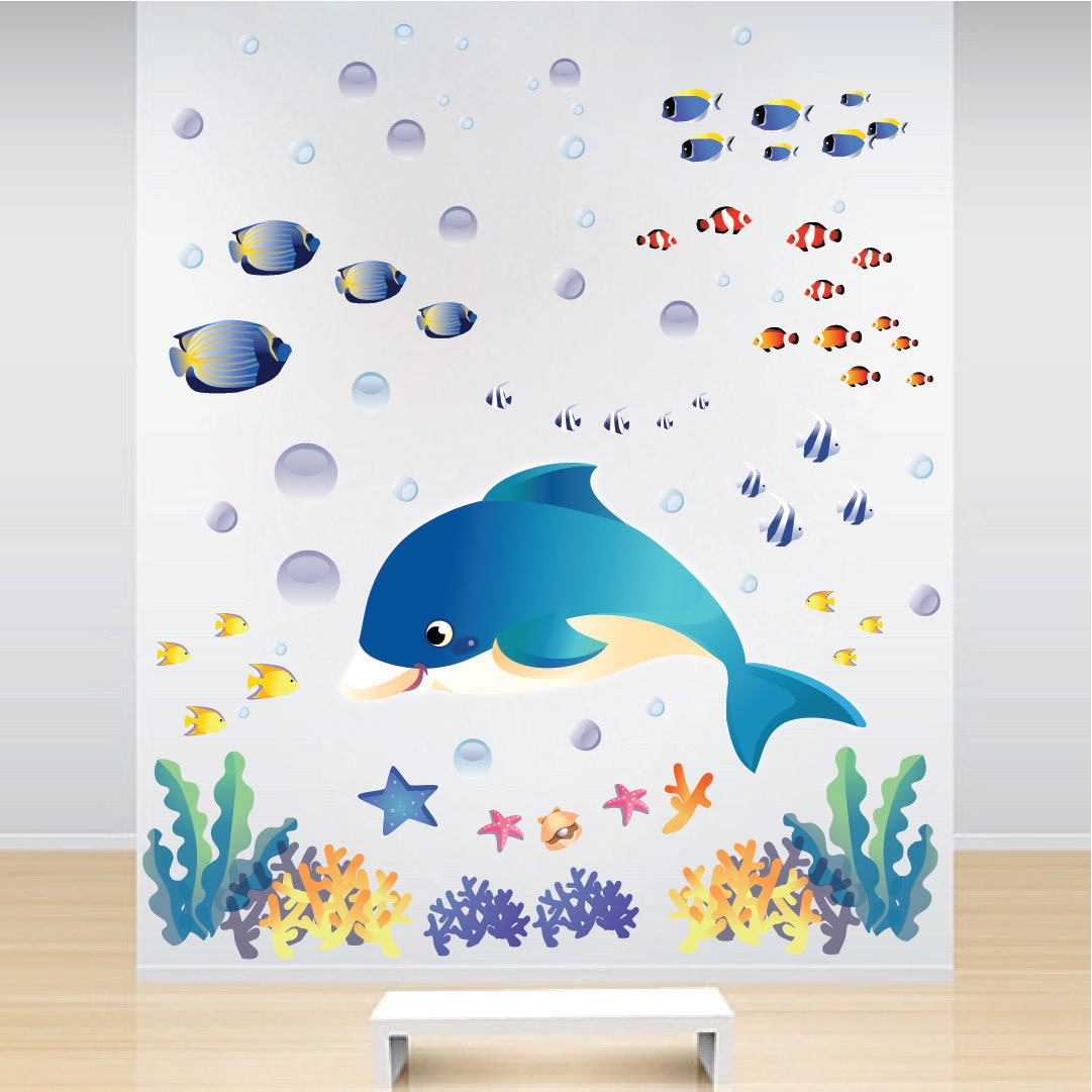 fish decals sea wall stickers under the sea wall murals sea. Black Bedroom Furniture Sets. Home Design Ideas