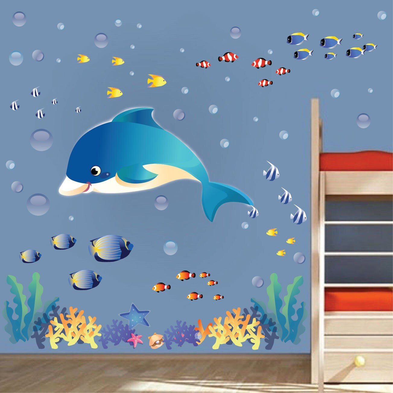 fish decals sea wall stickers under the sea wall by primedecal under the sea wall stickers sealife wall stickers fish