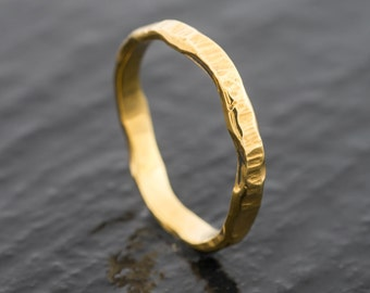18ct Natural Scottish and EcoGold Beaten Wedding Ring