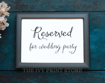 RESERVED SIGN for Wedding Party - Wedding Table, Chair Sign for Bridesmaids, Groomsmen, Family - Ceremony, Reception Paper Decor - RU019