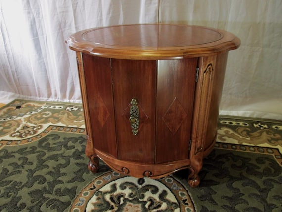Restored Mersman Drum Table Or Round Storage Table