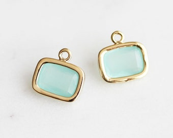 A2-057-G-MT] Mint / 9 X 7mm / Gold plated / Rectangle Glass Pendant / 2 pieces