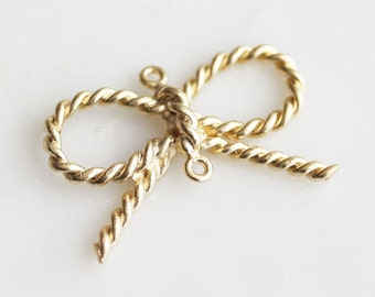 P0-844-MG] Twist Bow / 32 x 12mm / Matt Gold plated / Pendant / 4 piece(s)