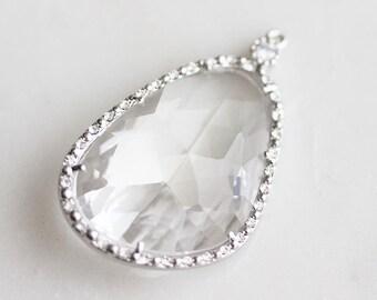 A2-188-R-C] RIGHT Crystal / 24 x 40mm / Rhinestone / Rhodium plated / Glass Pendant / 1 piece(s)