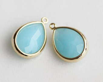 A2-098-G-MB] Milk Blue / 10 x 16mm / Gold plated / Teardrop Glass Pendant /  2 pieces
