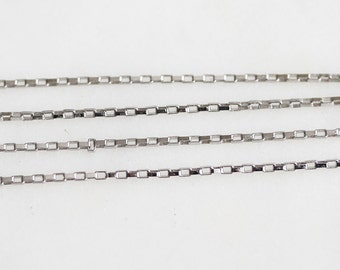 B5-102-R] Rhodium plated / 1.2mm / Rectangle Cable Chain / 1 meter