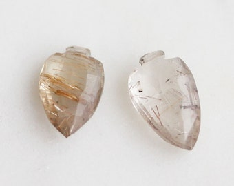 G5-001-A] Rutilated Quartz / 9 x 15mm / Faceted Arrow Briolettes / Semi Precious Gemstone  / 1 piece(s)